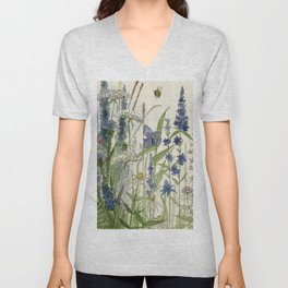 Wildflowers 2 watercolor Unisex V-Neck