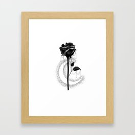 Black rose drips Framed Art Print