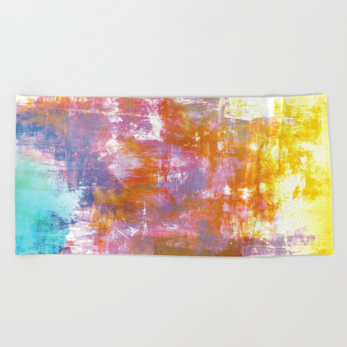OFF THE GRID 3 Colorful Pastel Neon Purple Rust Yellow Abstract Watercolor Acrylic Textural Painting Beach Towel