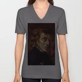 The Portrait of Frédéric Chopin by French artist Eugène Delacroix (1838) Unisex V-Ausschnitt