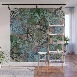 Labyrinth Mandala Blue Green Grey Wall Mural