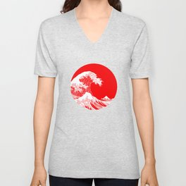 Hokusai great wave of Kanagawa Unisex V-Neck