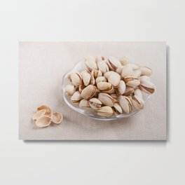 open pistachio nuts in shell Metal Print