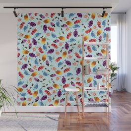 Fish shaped Flowers Wall Mural