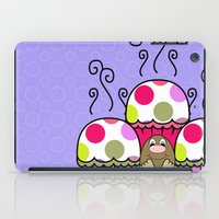 polkadot iPad Cases featuring Cute Monster With Pink And Purple Polkadot Cupcakes by Mydeas