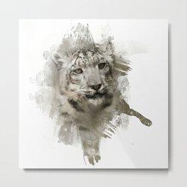 Expressions Snow Leopard Metal Print