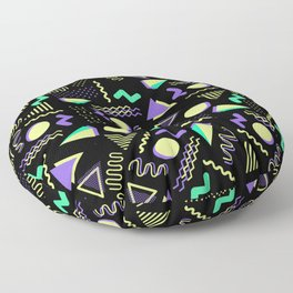 Geometrical retro lime green neon purple 80's abstract pattern Floor Pillow