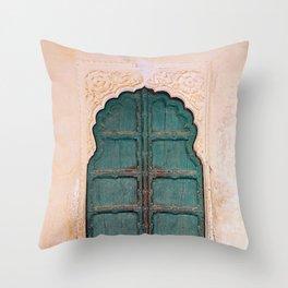 Antique door in India - Teal door, peach wall Throw Pillow