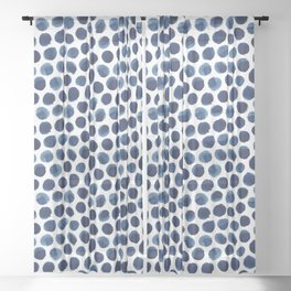 Large Indigo/Blue Watercolor Polka Dot Pattern Sheer Curtain