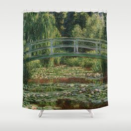 """Claude Monet """"The Japanese Footbridge and the Water Lily Pool, Giverny"""" Shower Curtain"""