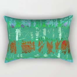 Abstract Forest Trees in Teal and Green Rectangular Pillow