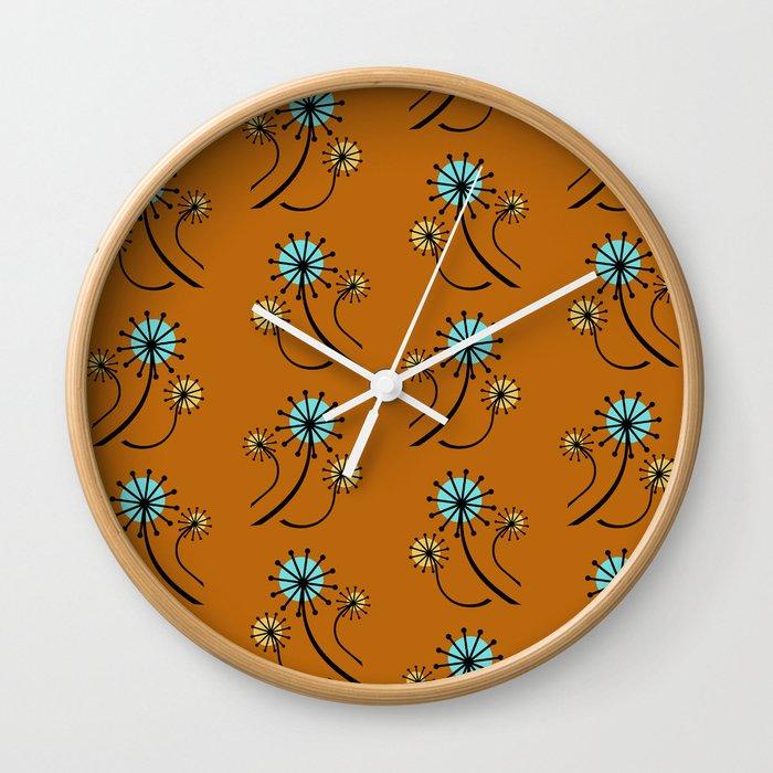 Mid Century Modern Dandelions On Orange Wall Clock