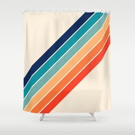 Karanda - 70s Style Classic Retro Stripes Shower Curtain
