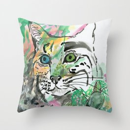 Blue Green Jungle Cat Throw Pillow
