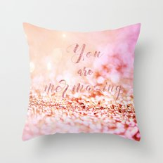Mermaid pink glitter typography - You are mermazing Throw Pillow