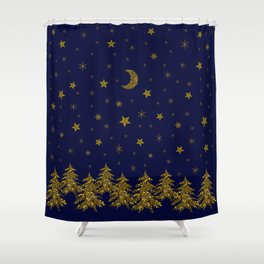 Sparkly Christmas tree, moon, stars Shower Curtain