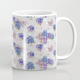 Hydrangeas and French Script with birds on gray background Coffee Mug
