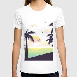 Hawaii Nights Sunset Illustration T-shirt