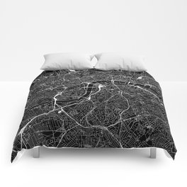 London Black Map Comforters