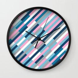 Bricks Rotate 45 Blue and Pink Wall Clock