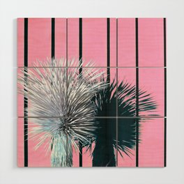Yucca Plant in Front of Striped Pink Wall Wood Wall Art