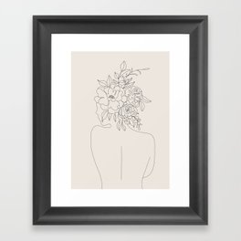 Woman with Flowers Minimal Line I Framed Art Print