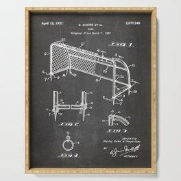 Soccer Patent - Soccer Goal Art - Black Chalkboard Serving Tray