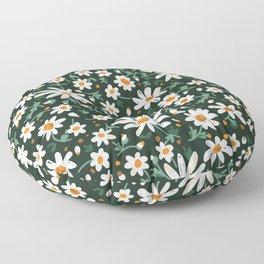Friendly Flowers Pattern on Black Floor Pillow