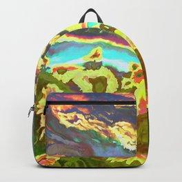 Vibrant Vibrations of Sunset Sunflowers Backpack