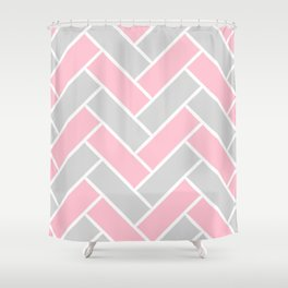 Chevron Pattern Pink and Grey #pink Shower Curtain