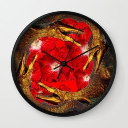 RED BLOODY HIBISCUS FLOWERS ALLIGATORS GOLD ART Wall Clock