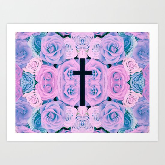 Pastel Rose Cross Art Print