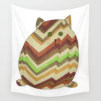 fat Wall Tapestries featuring Fat Cat by Erin Brie Art