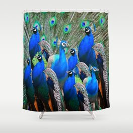 FLOCK OF BLUE PEACOCKS Shower Curtain