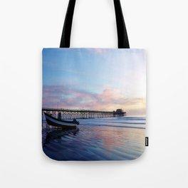 Dory Sunset Newport Beach Pier Tote Bag