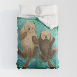 Otters Holding Paws, Floating in Emerald Waters Comforters