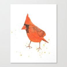 red bird, cardinal, male cardinal, bird painting, watercolor birds, gift for bird lover Canvas Print