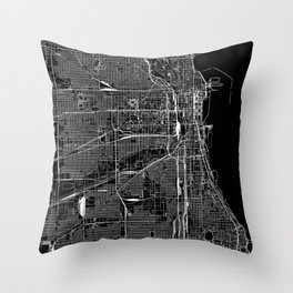 Chicago Black Map Throw Pillow