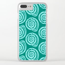 Spiral Seashell Block Print, Turquoise and Aqua Clear iPhone Case