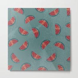 Watermelon Wiggle - Red Metal Print