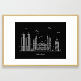 Istanbul Minimal Nightscape / Skyline Drawing Framed Art Print