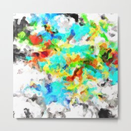 psychedelic splash painting abstract texture in blue yellow brown green black Metal Print