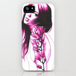 Pink magnolia iPhone Case
