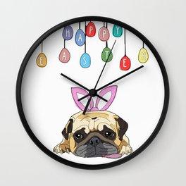 Happy Easter - Pug Bunny Wall Clock