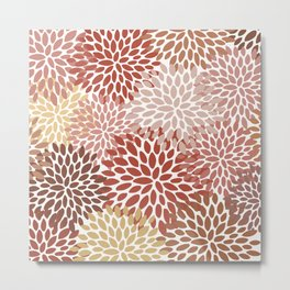 Floral Pattern, Warm Terracotta Metal Print