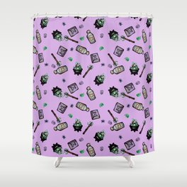 Purple Witches Brew & Fairy Dust Pattern Shower Curtain