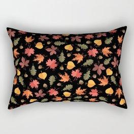 Autumn Leaves Pattern Black Background Rectangular Pillow