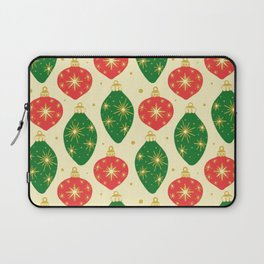 Vintage Festive Hand-painted Christmas Tree Ornaments with Beautiful Acrylic Texture, Green and Red Laptop Sleeve