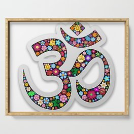 Namaste Floral Yoga Symbol Serving Tray