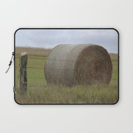 Kansas Hay Bale in a field with a fence Laptop Sleeve